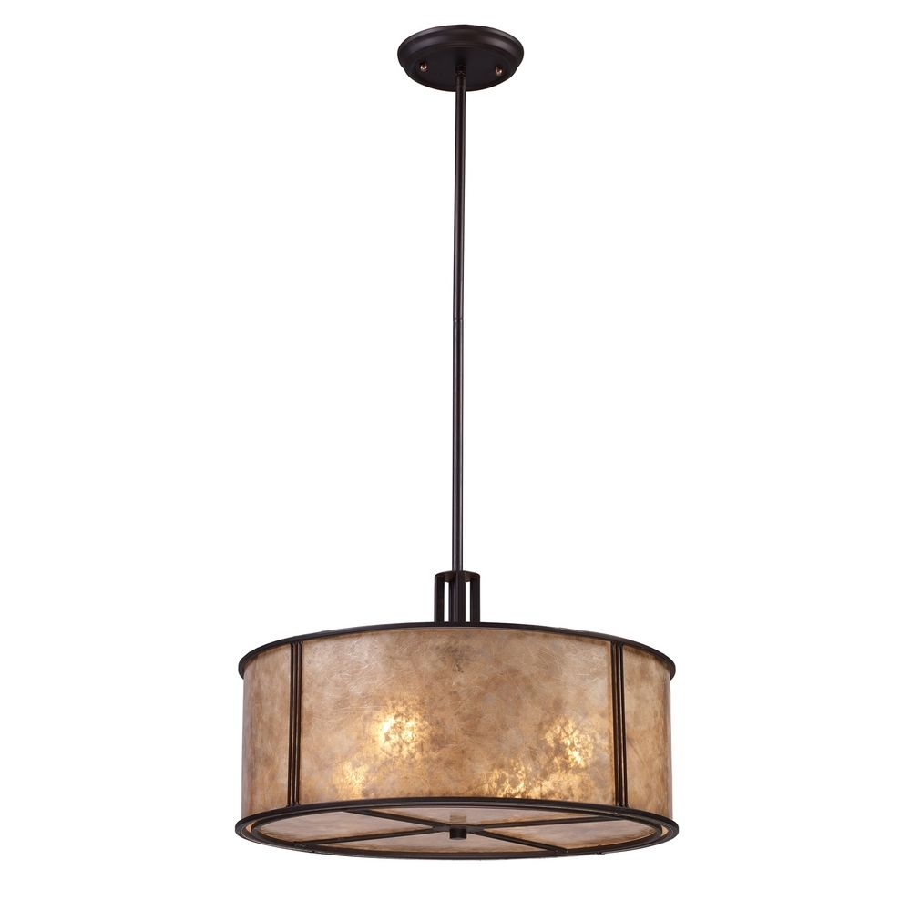 Drum Pendant Light With Brown Mica Shade In Aged Bronze Finish Alt1