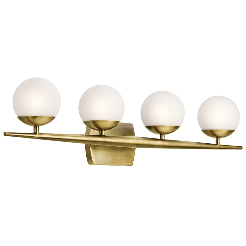 Mid Century Modern Bathroom Light Brass Jasper By Kichler Lighting 45583nbr Destination Lighting