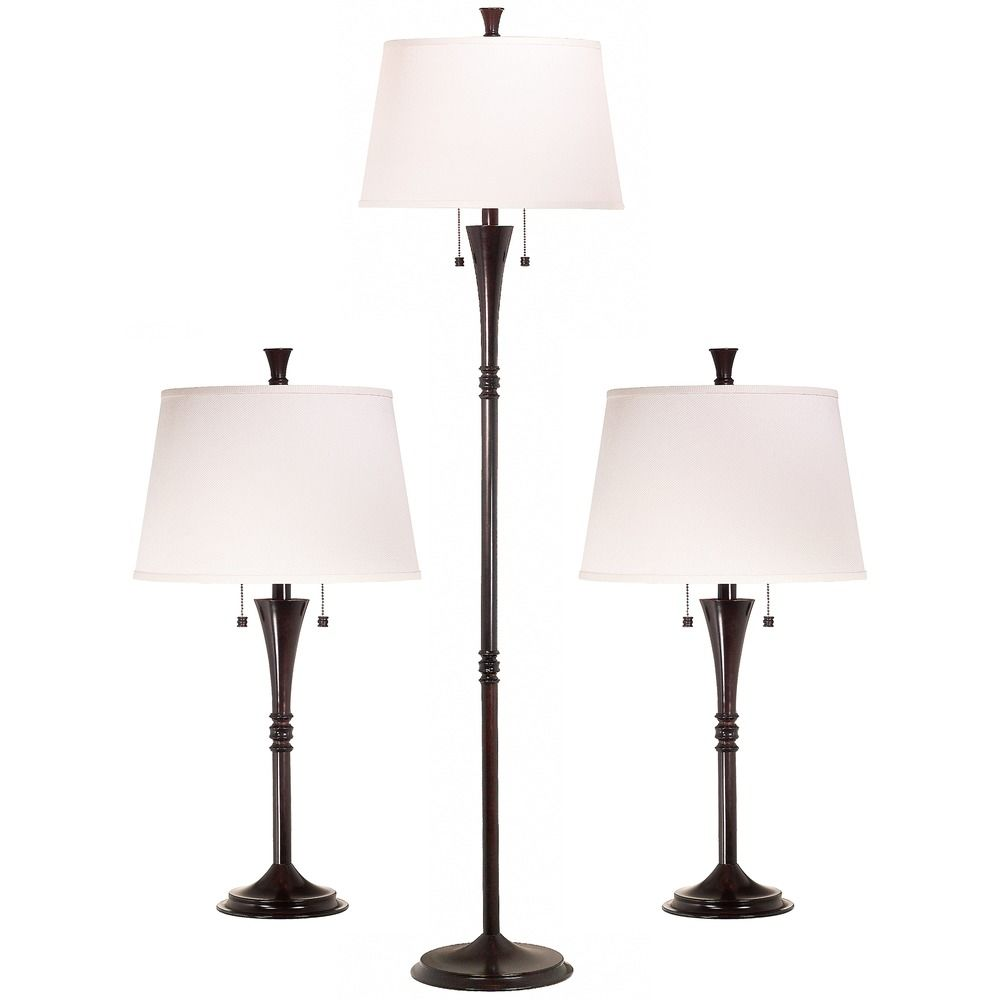 Table and floor lamp set with white shades in oil rubbed for Floor lamp with table
