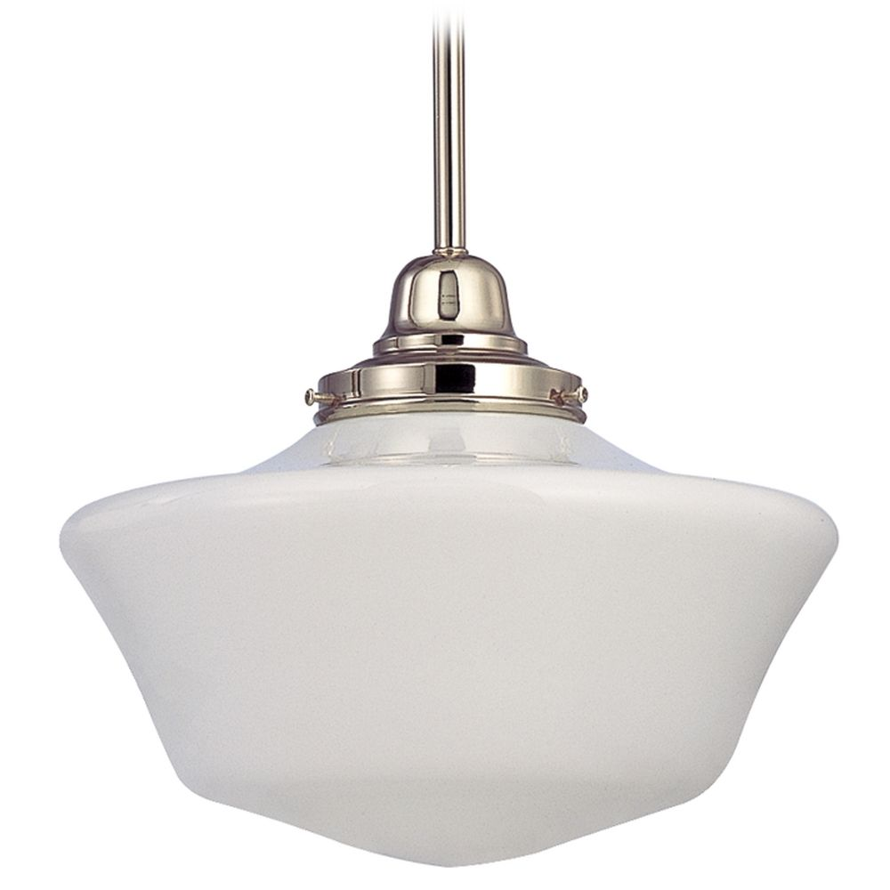 12 inch schoolhouse pendant light in polished nickel