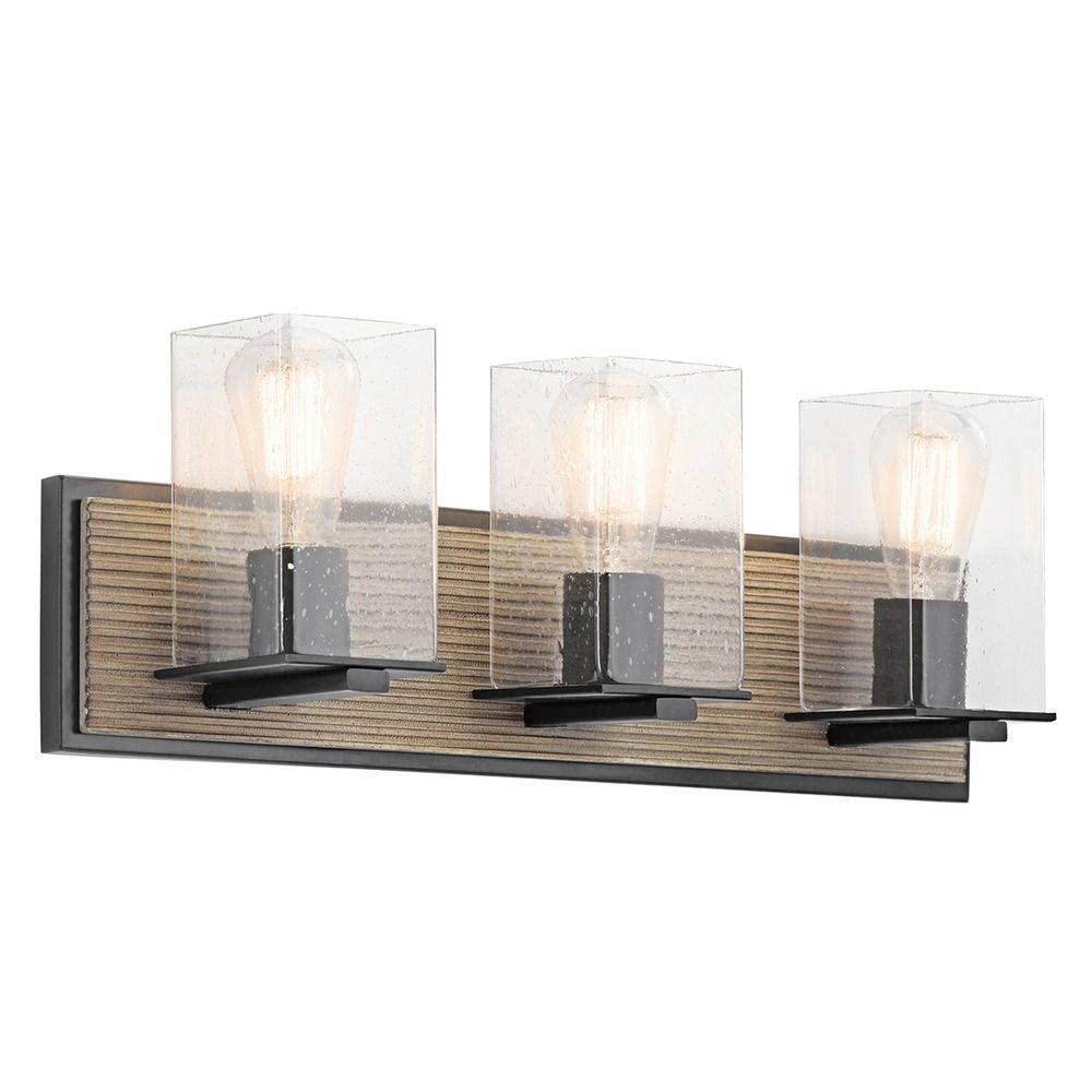 Seeded Glass Bathroom Light Bronze Kichler Lighting 45544dag Destination Lighting