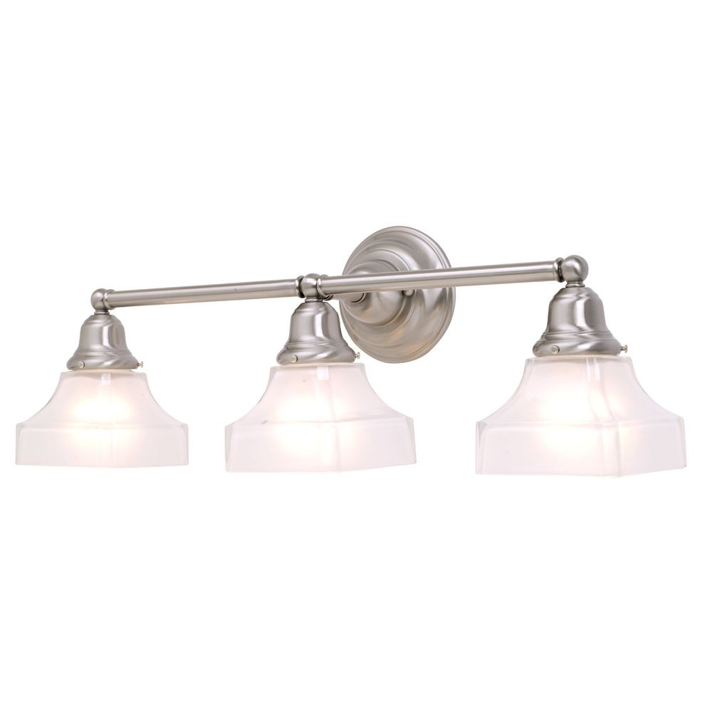 Three light bathroom light in satin nickel finish 673 09 for Bathroom 3 light fixtures