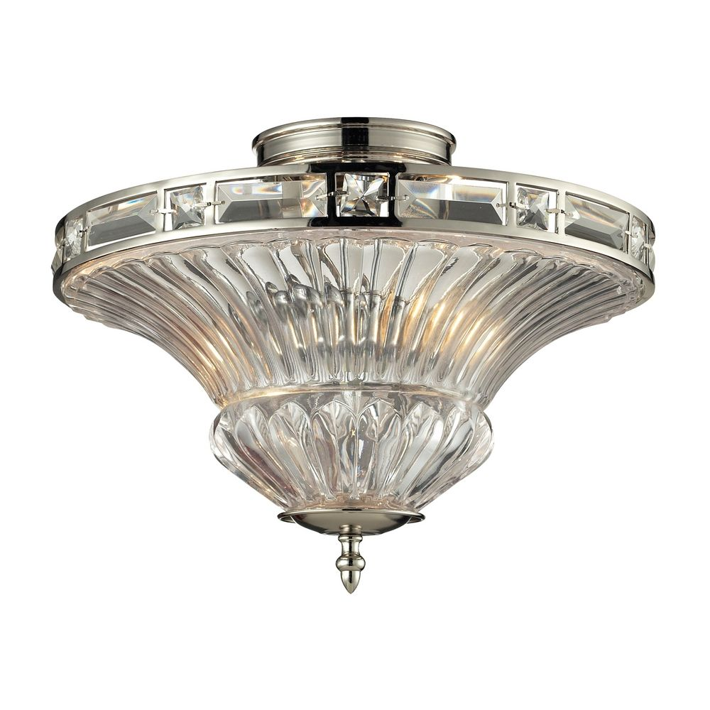 Elk Lighting Crystal Semi Flushmount Light With Clear Glass In Polished Nickel Finish 31500