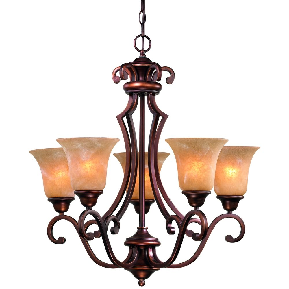 Five light old world bronze chandelier 305 133 destination lighting - Light fixtures chandeliers ...