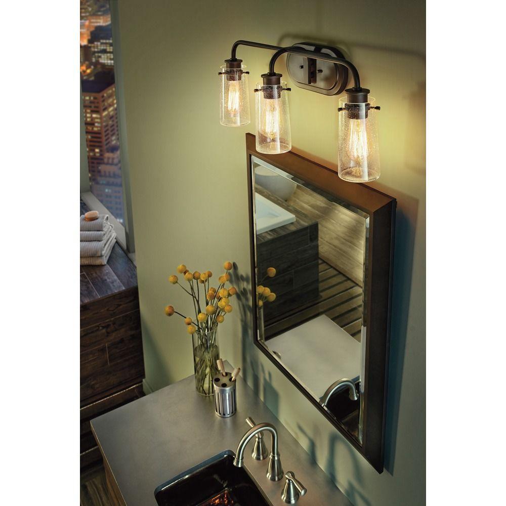 Rustic Bathroom Lighting Lowes: Seeded Glass LED Bathroom Light Bronze Kichler Lighting