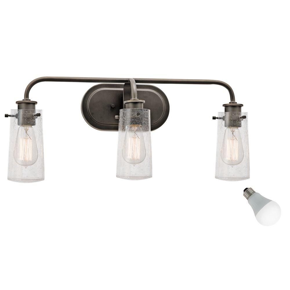 Seeded Glass Led Bathroom Light Bronze Kichler Lighting 45459oz Destination Lighting