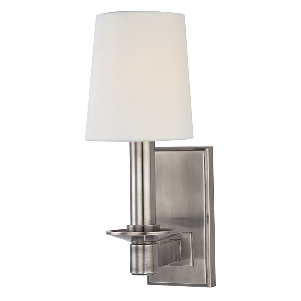Sconce Wall Light with White Shade in Historic Nickel Finish 151-HN Destination Lighting
