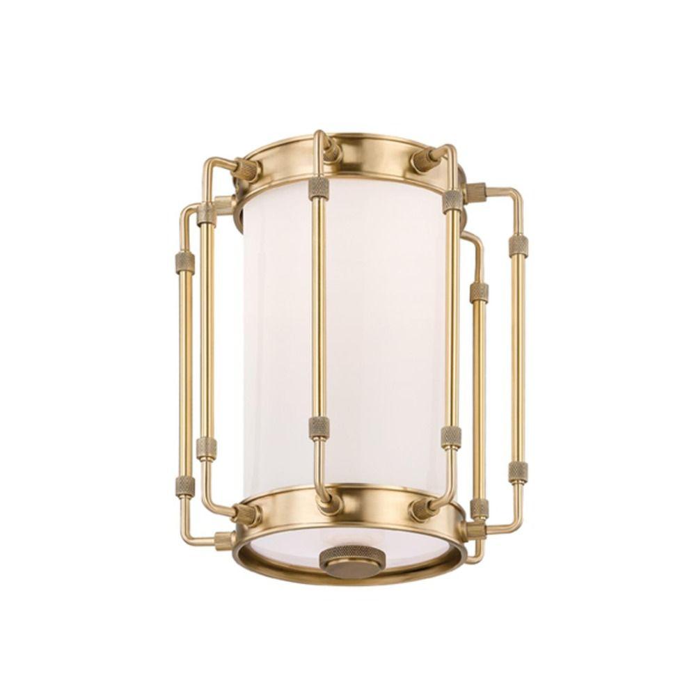 Hudson Valley Emergency Lighting: Hudson Valley Lighting Hyde Park Aged Brass LED Flushmount