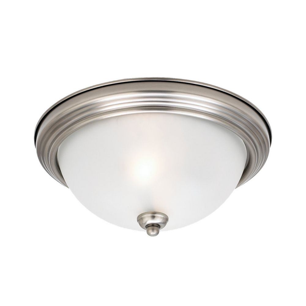 Flushmount Light With White Glass In Antique Brushed
