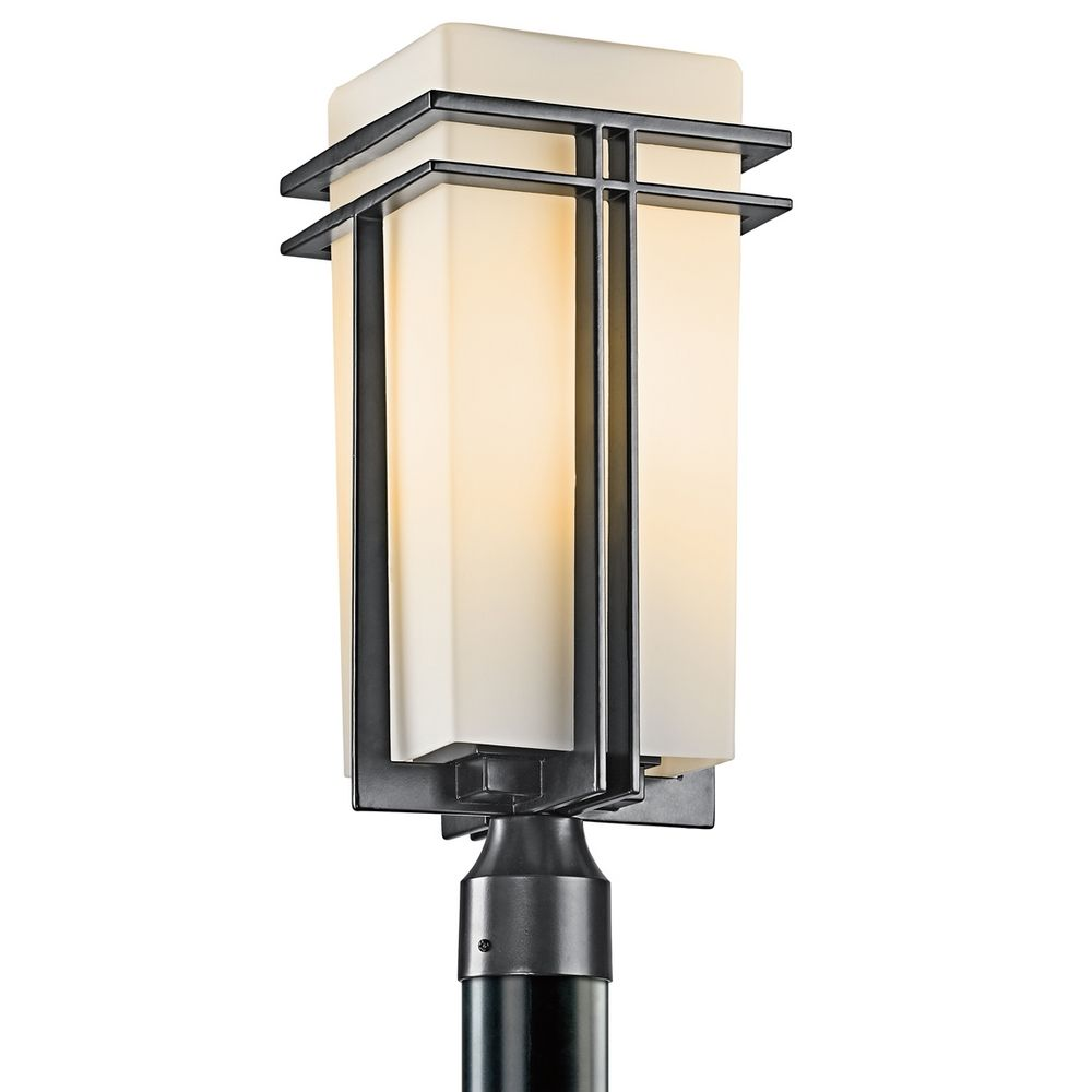 Kichler post light with beige cream glass in black finish hover or click to zoom mozeypictures Image collections