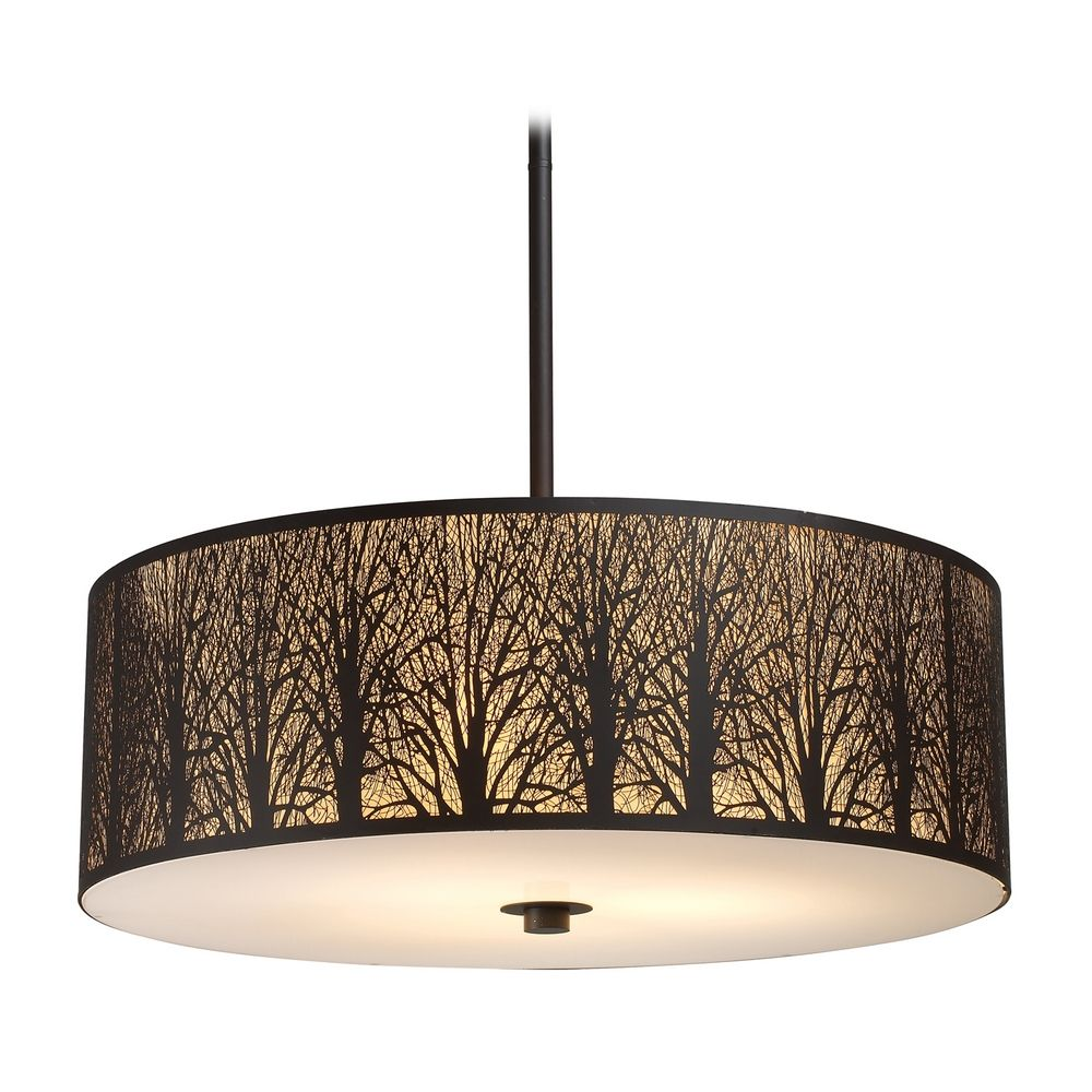 Drum Pendant Light with Amber Glass in Aged Bronze Finish | 31075/5 ...