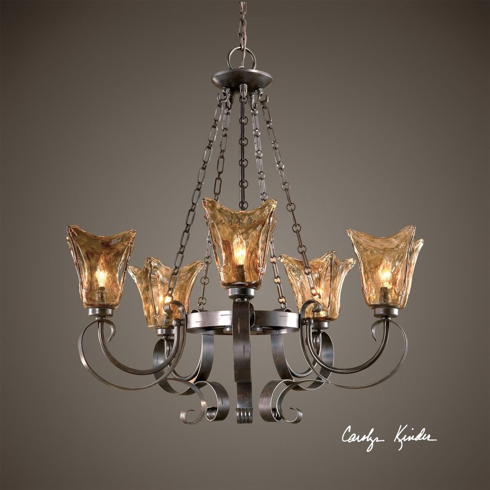 Uttermost 5 light chandelier with amber glass in oil rubbed bronze uttermost 5 light chandelier with amber glass in oil rubbed bronze alt1 aloadofball Images