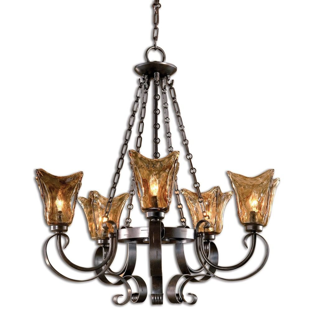 Uttermost 5 Light Chandelier With Amber Glass In Oil