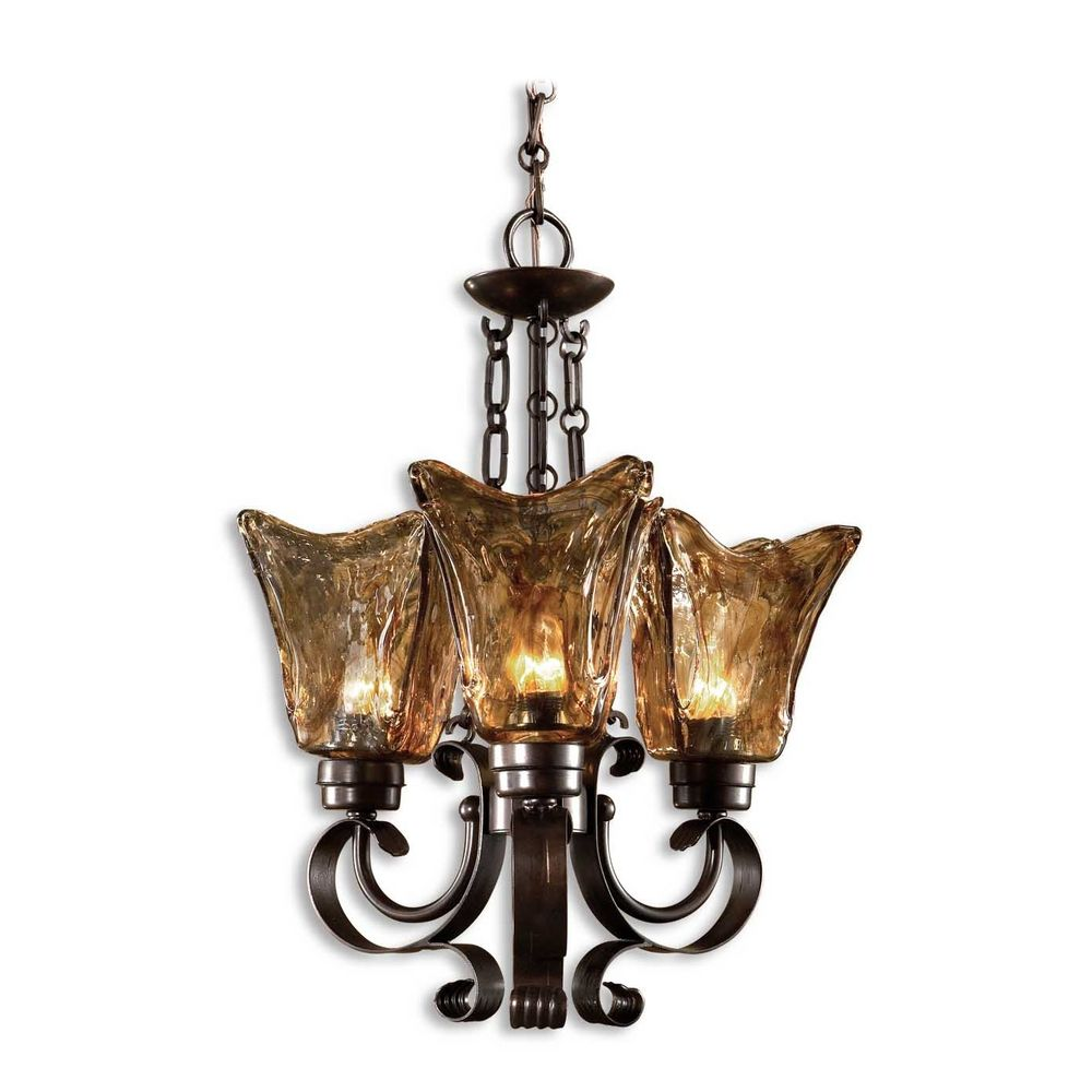 Uttermost 3 Light Chandelier With Amber Glass In Oil