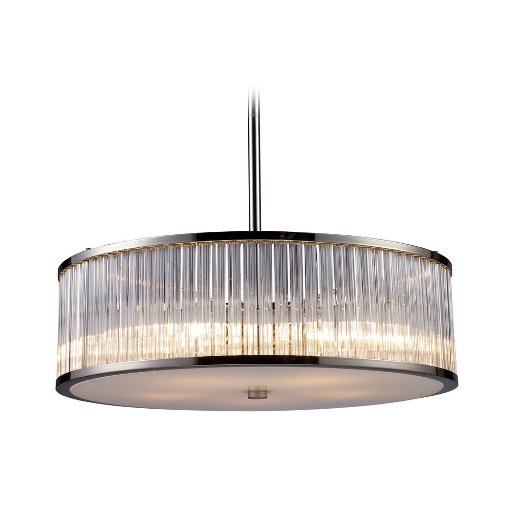Modern drum pendant light with clear glass in polished Modern pendant lighting