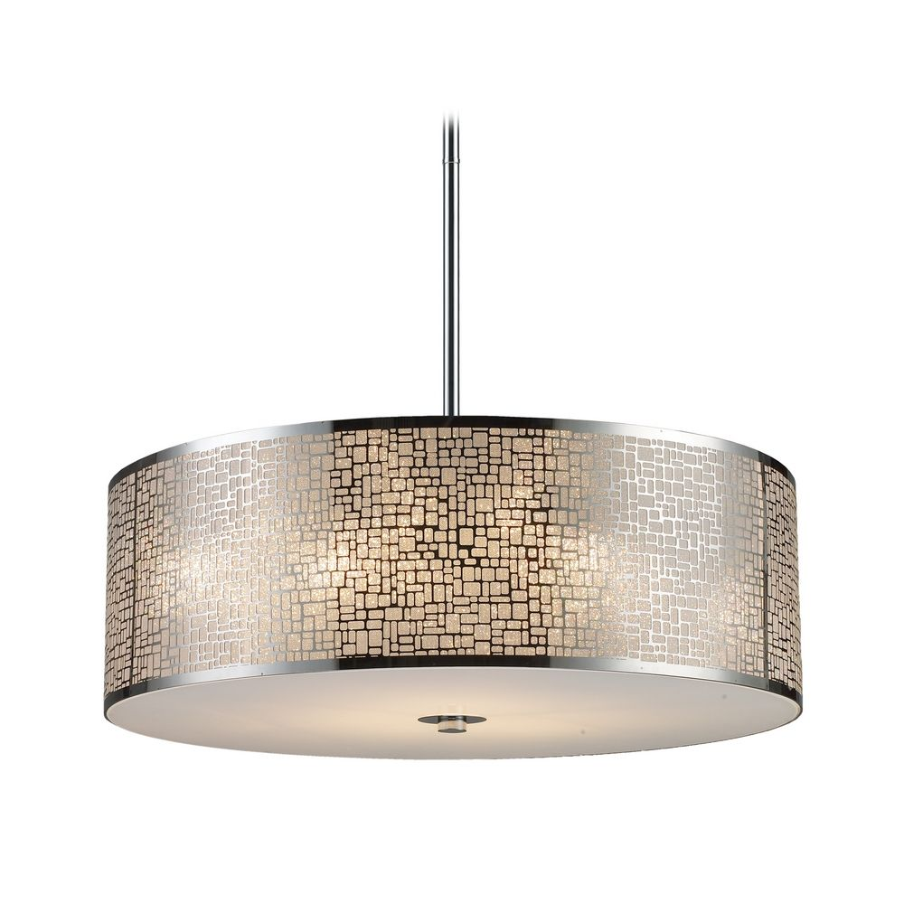 Modern Drum Pendant Light With White Gl In Polished Stainless Steel Finish