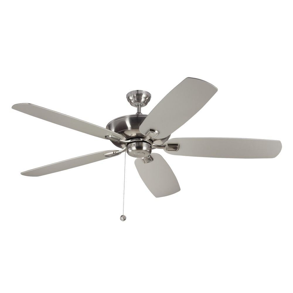 Monte Carlo Colony Super Max Brushed Steel Ceiling Fan Without Light At Destination Lighting