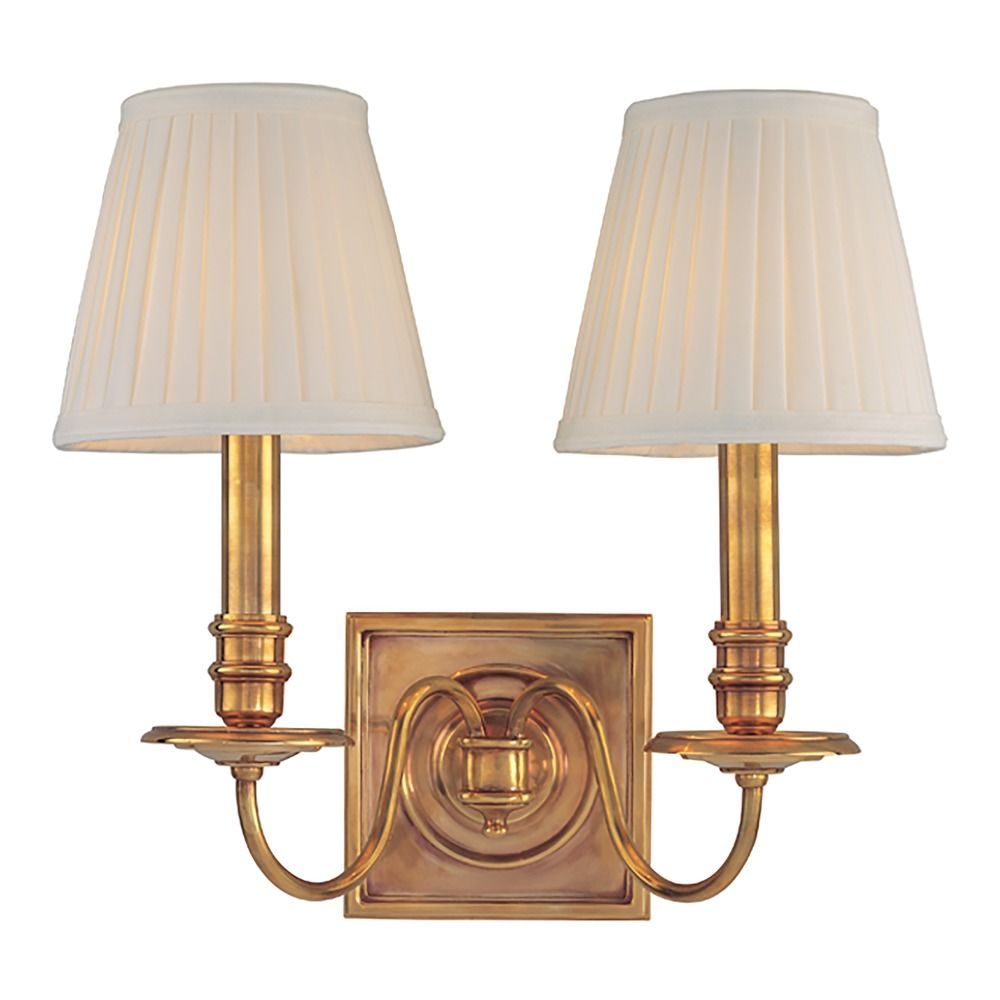 Sconce Wall Light with White Shades in Aged Brass Finish ... on Aged Brass Wall Sconce id=23456