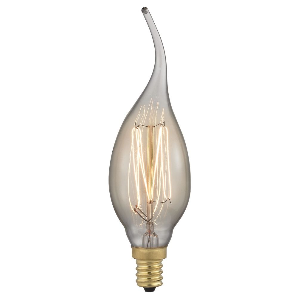 design classics lighting early edison carbon filament flame tip candelabra light bulb 40watt