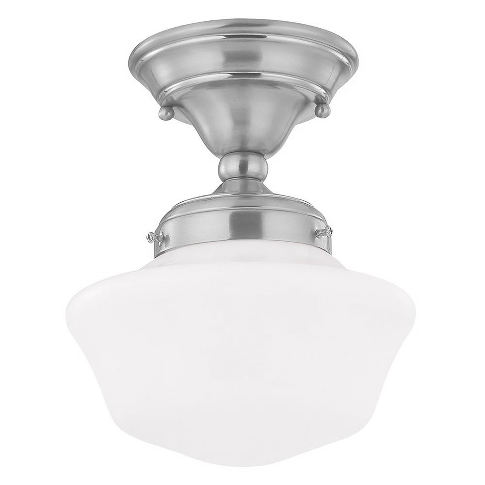 Low profile 1 light schoolhouse ceiling fan light kit light kit included ceiling for Low profile exterior wall lights