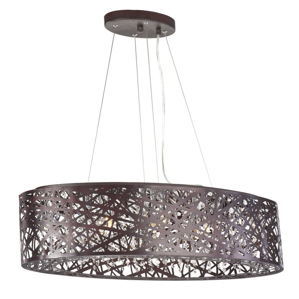 inca bronze pendant light with oval shade alt2