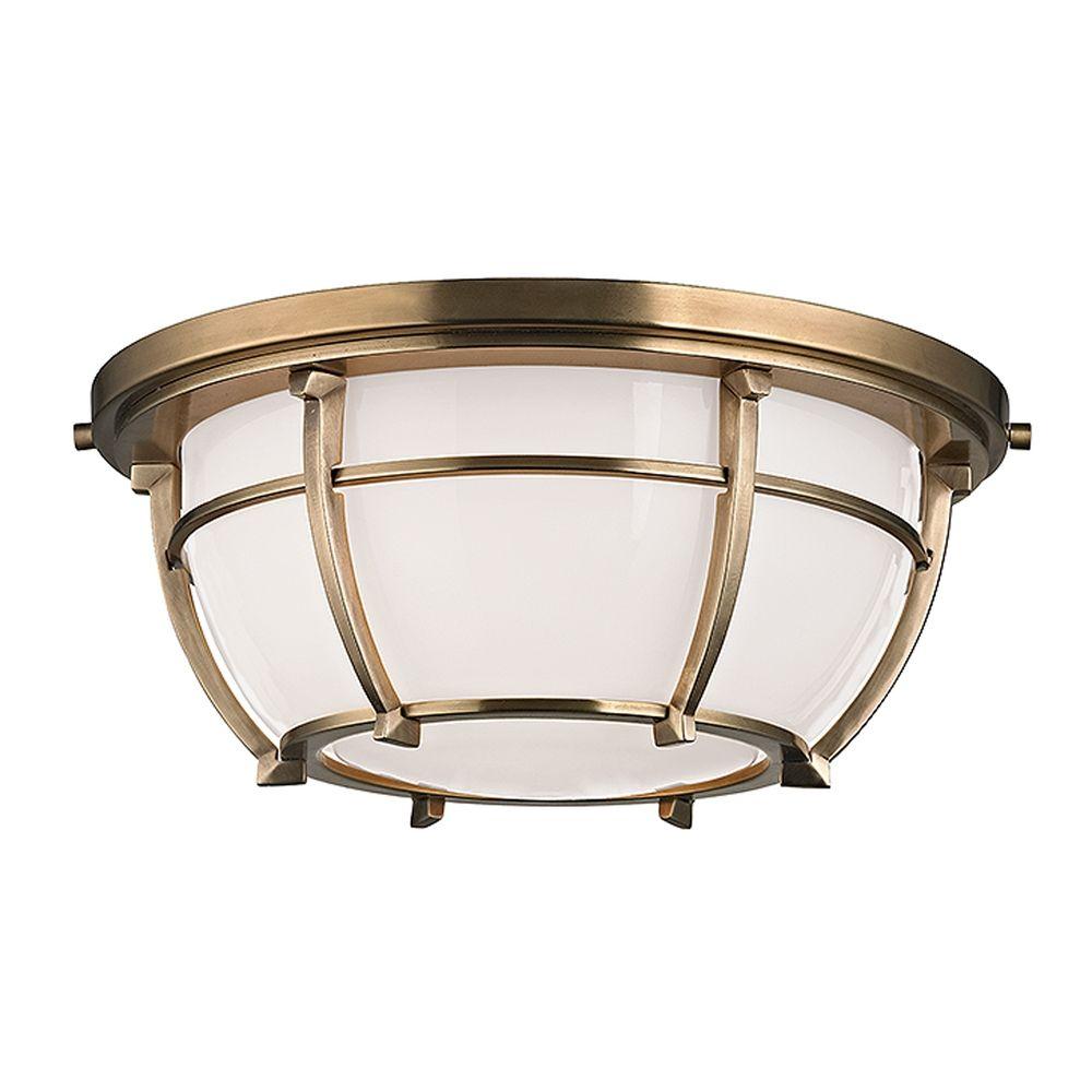 Hudson Valley Emergency Lighting: Hudson Valley Lighting Conrad Aged Brass Flushmount Light