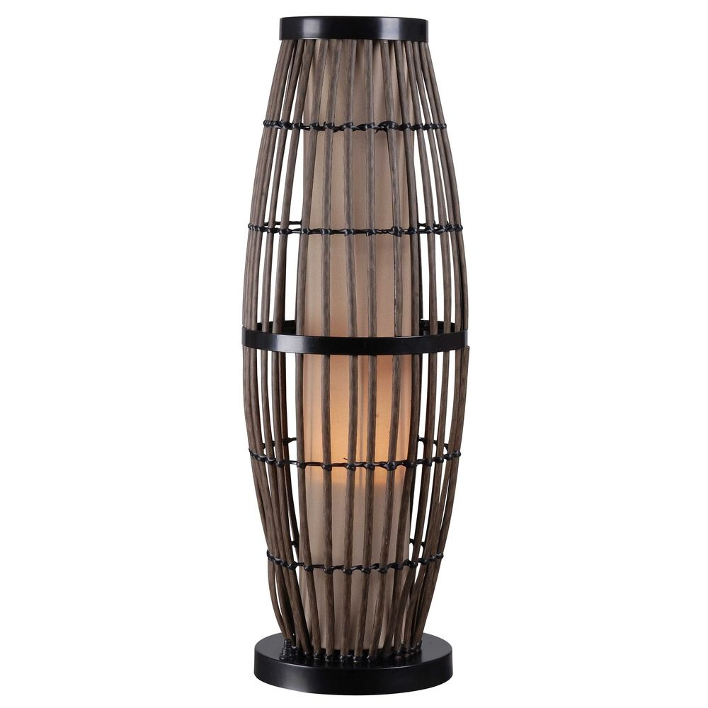 outdoor table lamp with rattan cage and tan shade