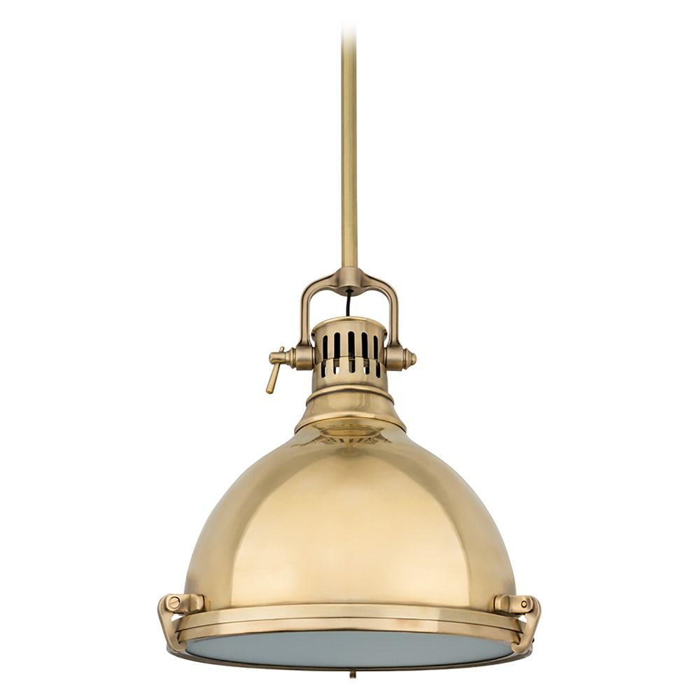 Hudson valley lighting nautical pendant light in aged brass finish 2212 agb
