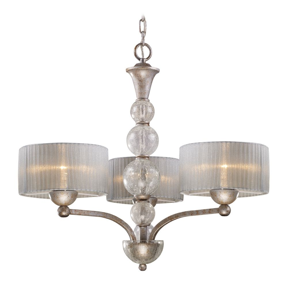 Modern Chandelier With Silver Shade In Antique Silver