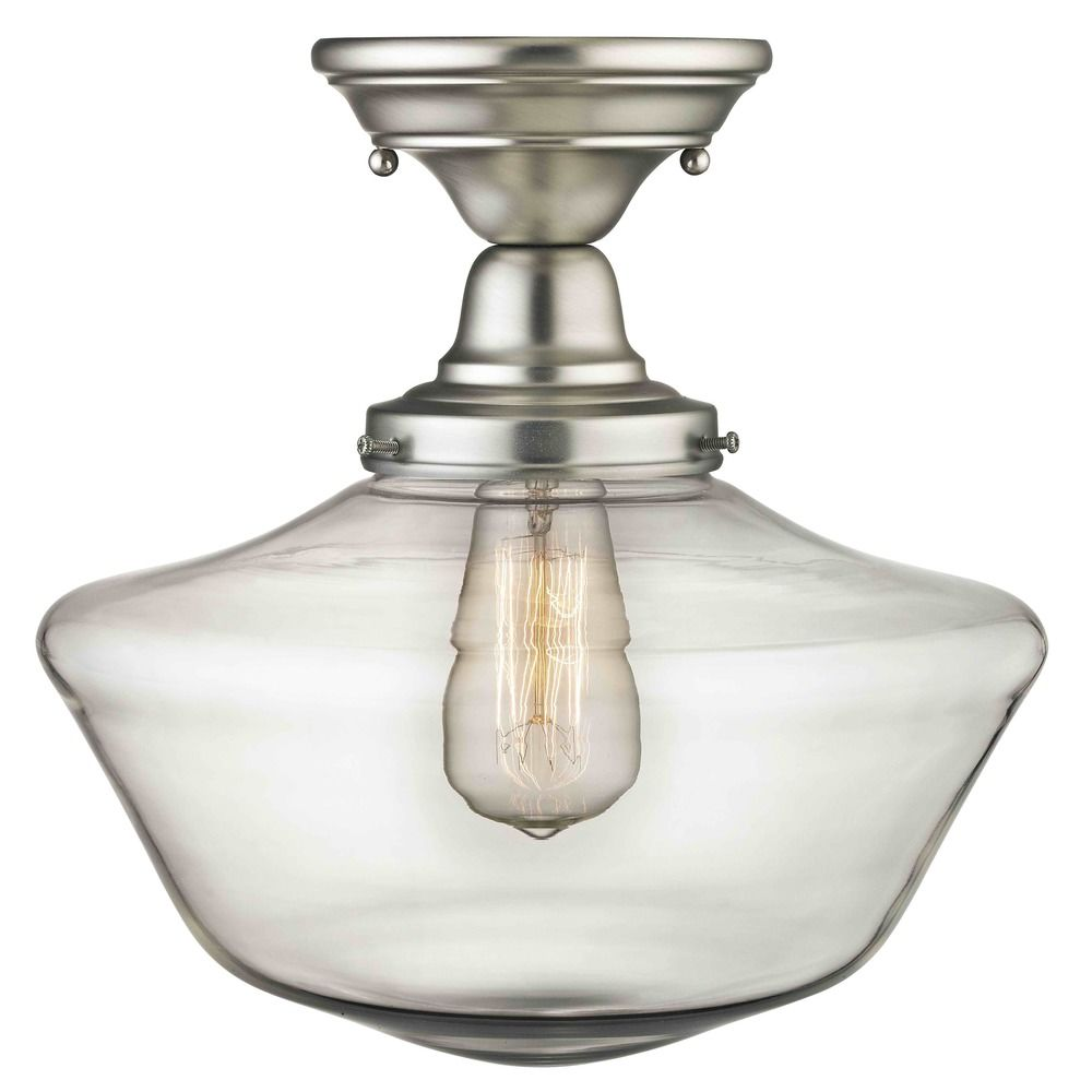 12 inch satin nickel clear glass schoolhouse semi flush ceiling 12 inch satin nickel clear glass schoolhouse semi flush ceiling light alt1 aloadofball