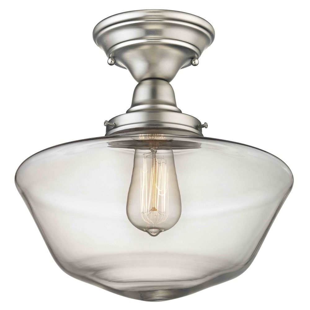 12 inch satin nickel clear glass schoolhouse semi flush ceiling 12 inch satin nickel clear glass schoolhouse semi flush ceiling light alt2 mozeypictures Choice Image