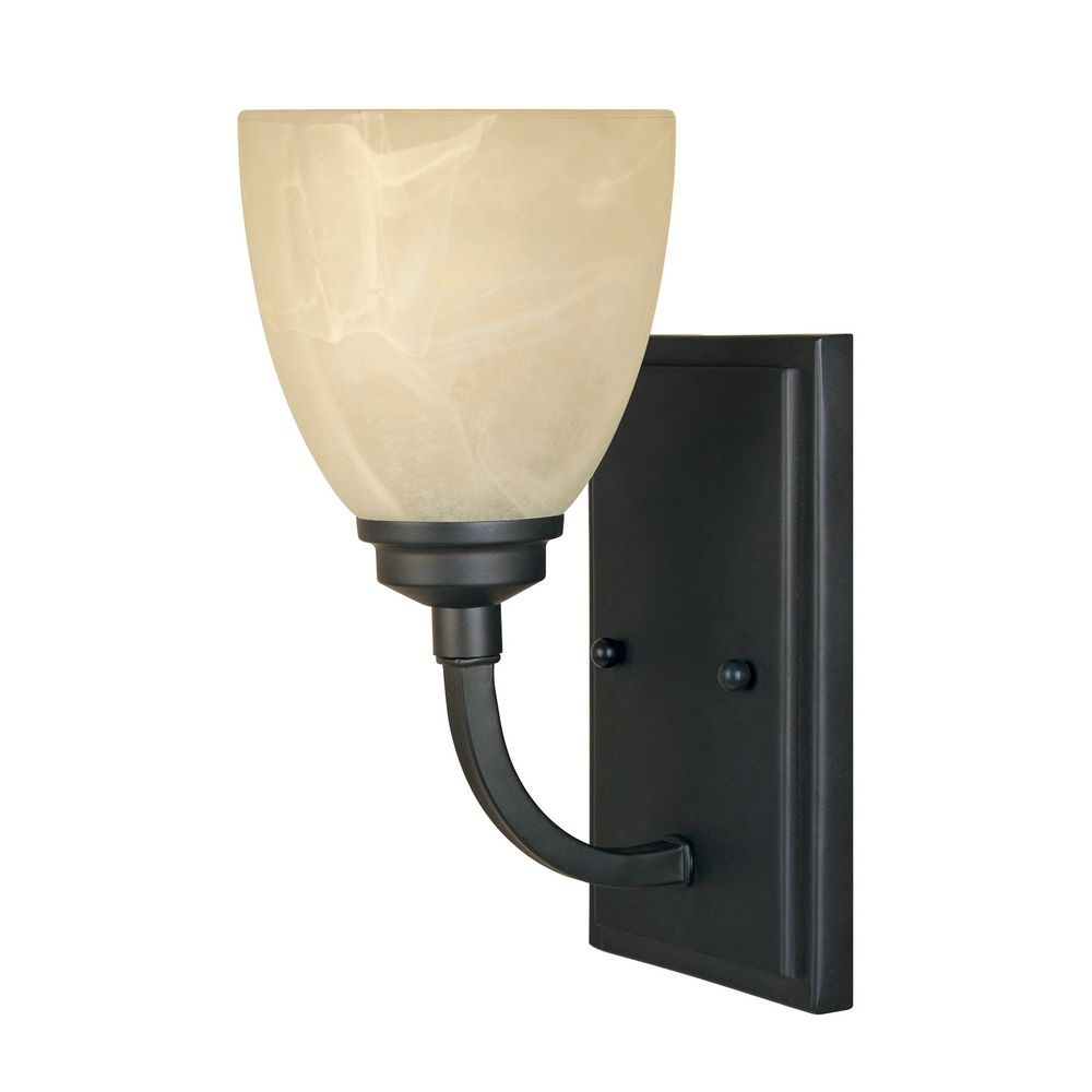 Wall Sconces Alabaster Glass : Sconce Wall Light with Alabaster Glass in Burnished Bronze Finish 82901-BNB Destination Lighting