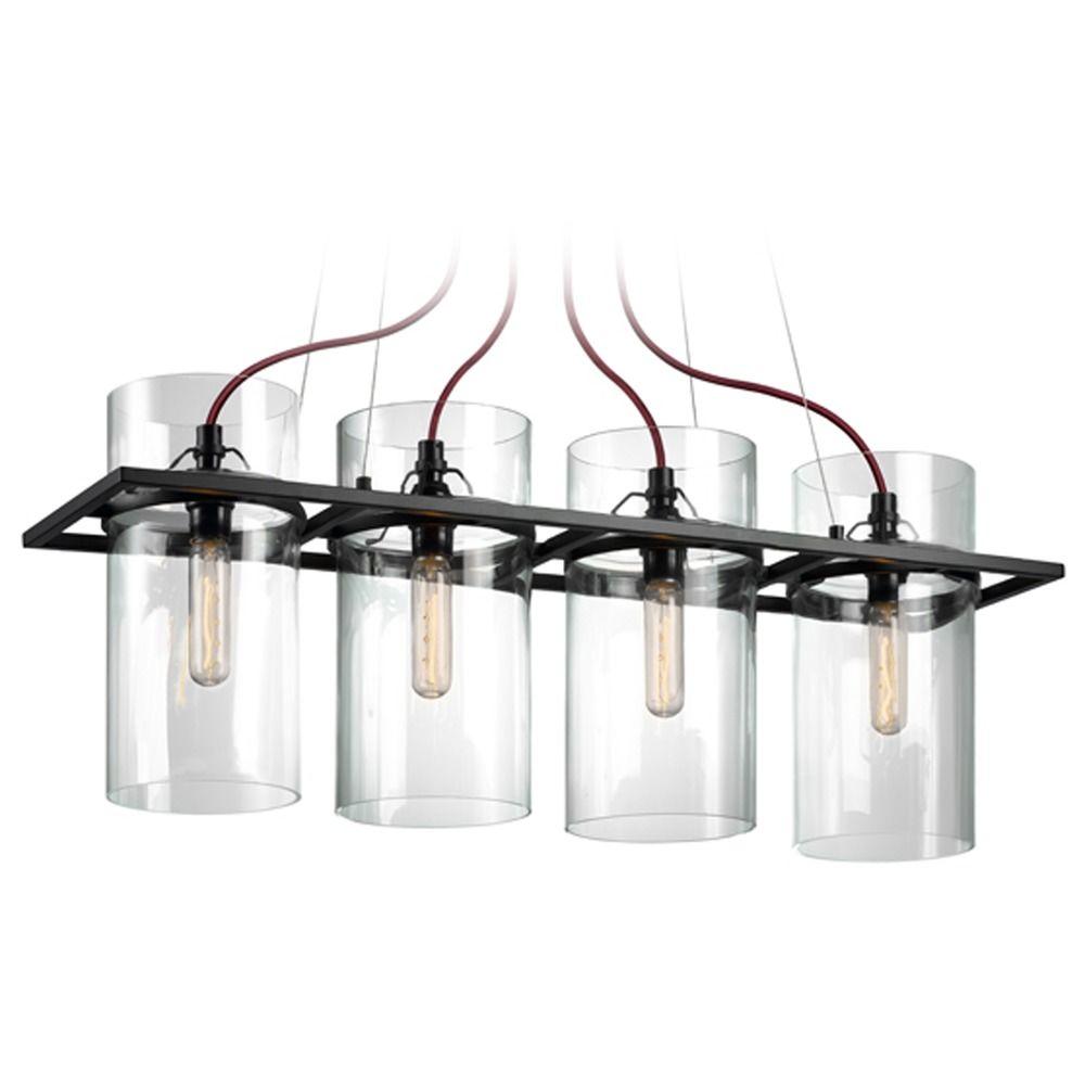 Sonneman square ring satin black 4 light pendant light for Sonneman lighting