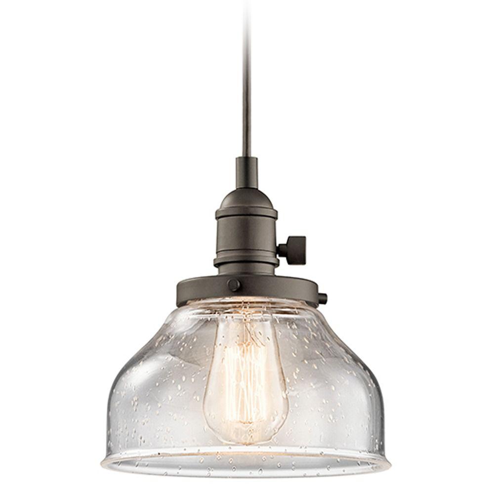 Seeded glass mini pendant light bronze kichler lighting for Mini pendant lights