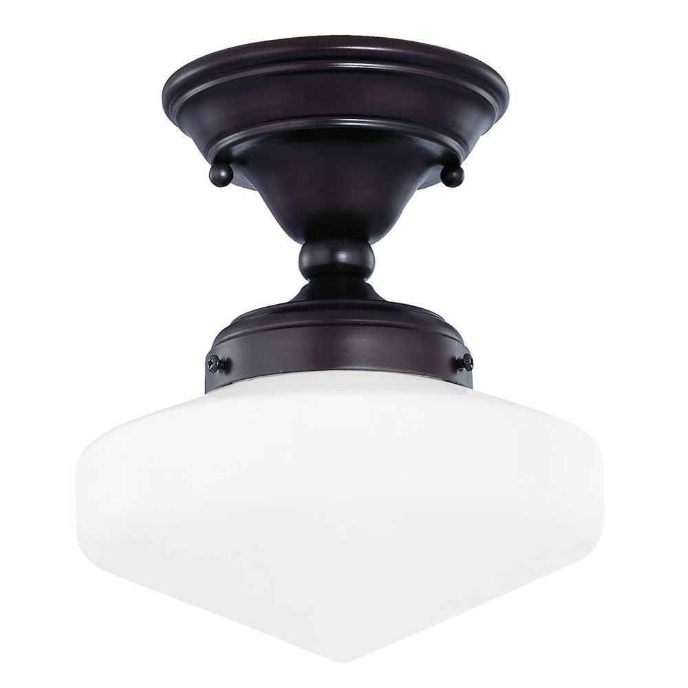 Low Profile 1 Light Schoolhouse Ceiling Fan Light Kit