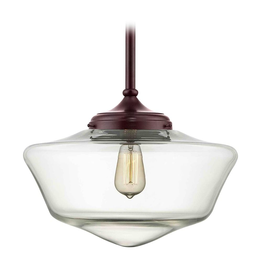 16 inch bronze clear glass schoolhouse pendant light fa6 220 product image aloadofball Images