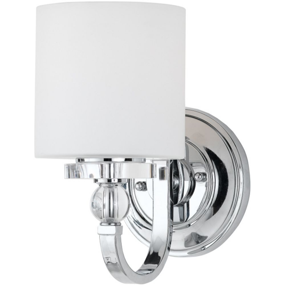 Modern sconce wall light with white glass in polished for Contemporary bathroom wall sconces