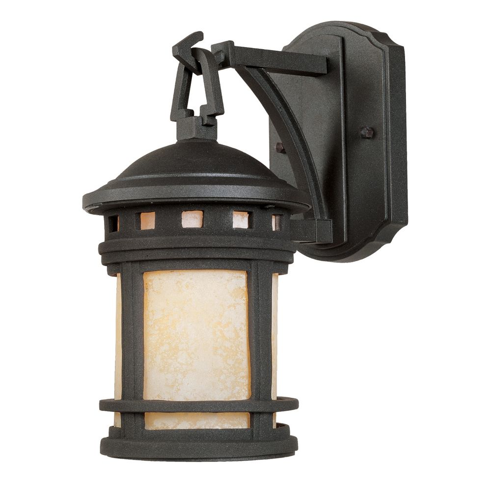 Bronze Finish Wall Lights : Outdoor Wall Light with Amber Glass in Oil Rubbed Bronze Finish 2370-AM-ORB Destination Lighting