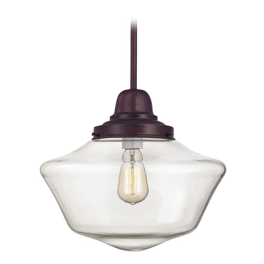 14 Inch Bronze Clear Gl Schoolhouse Pendant Light