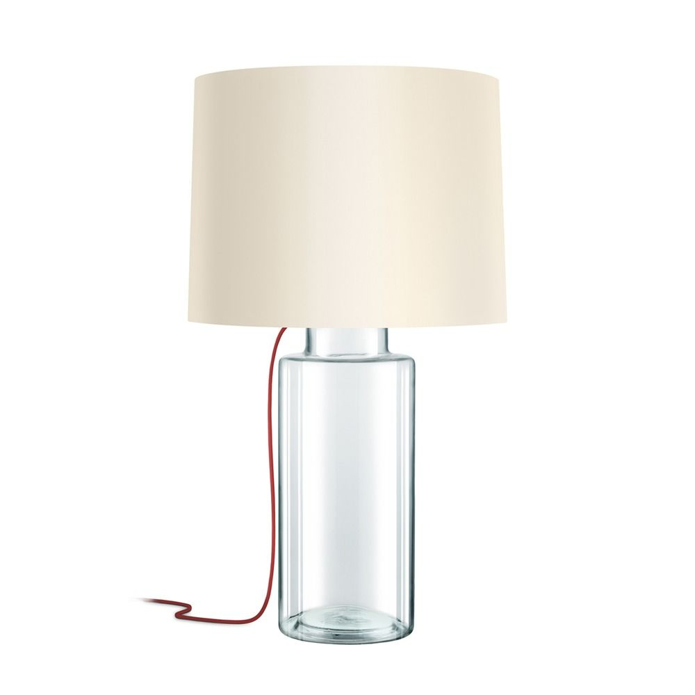 Sonneman Vaso Clear Glass With Red Silk 1 Light Table Lamp