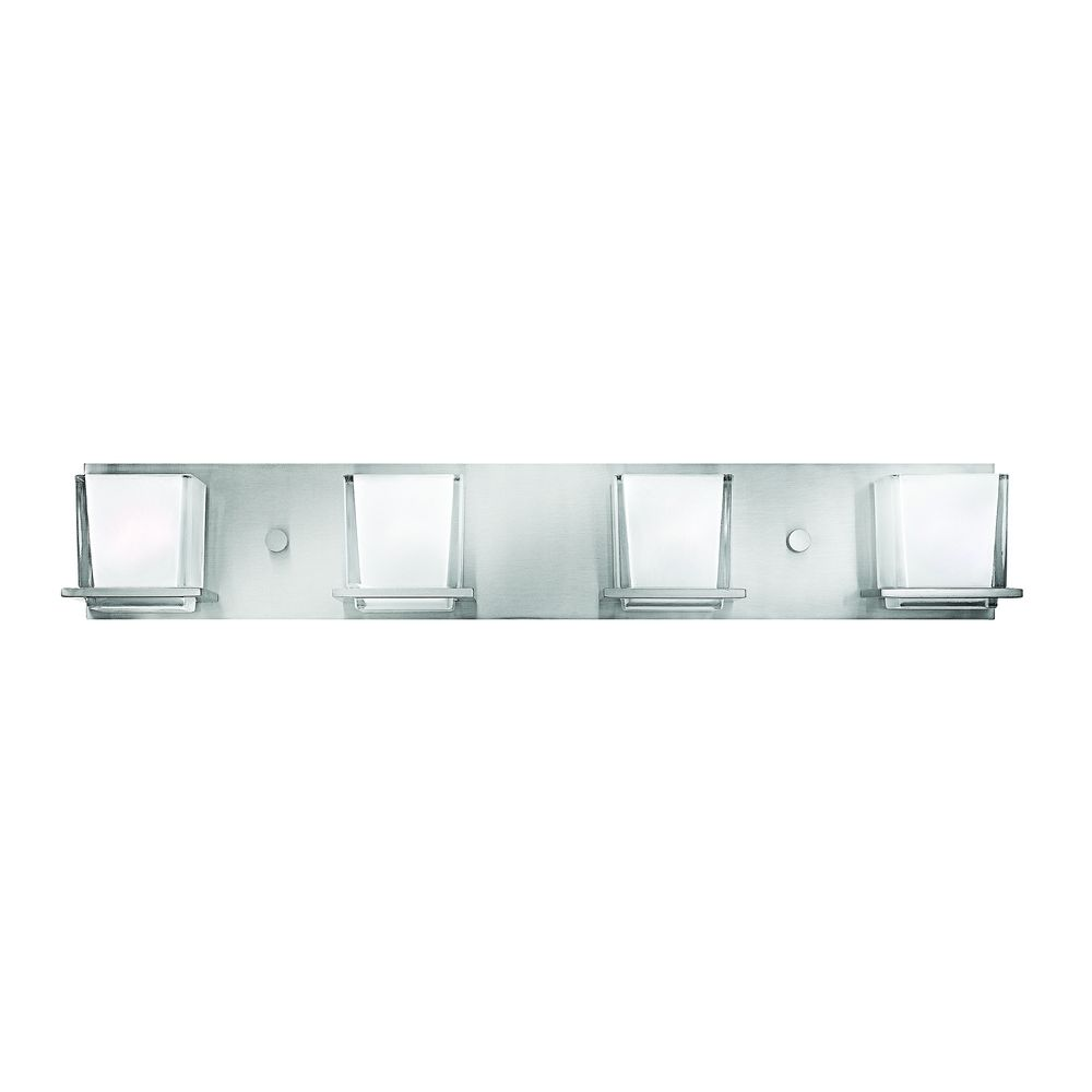 Bathroom light with white glass in brushed nickel finish for Bathroom fixtures brushed nickel finish