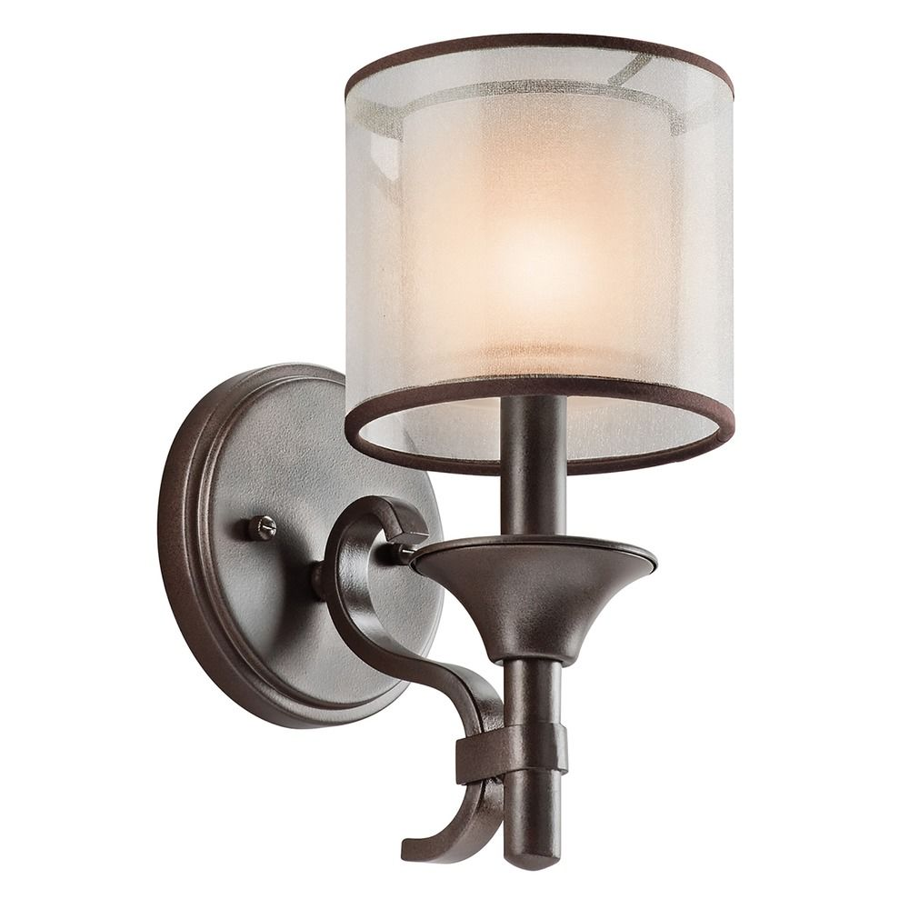Modern White Wall Sconces : Kichler Modern Sconce Wall Light with White Glass in Bronze Finish 45281MIZ Destination Lighting
