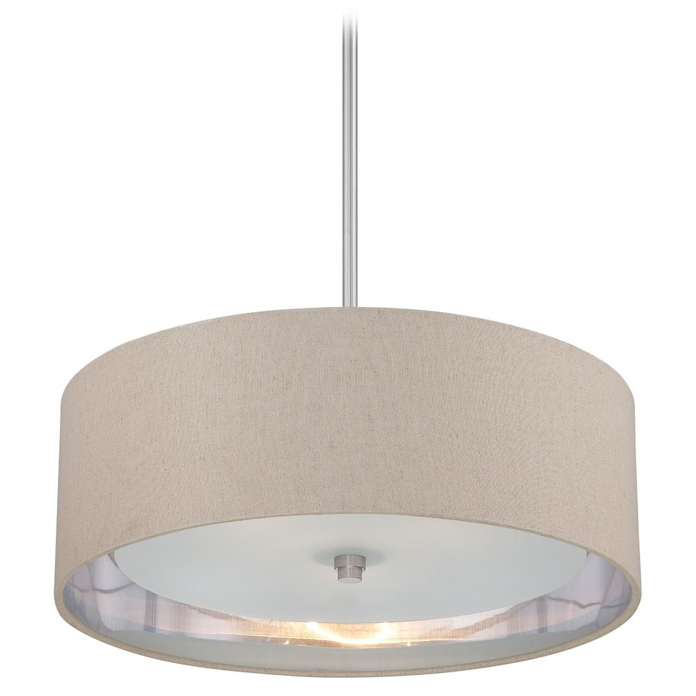 modern drum pendant light in brushed nickel finish. Black Bedroom Furniture Sets. Home Design Ideas