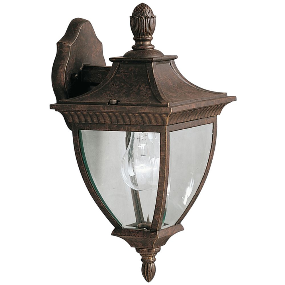Gold Outside Wall Lights : Kichler Outdoor Wall Light with Clear Glass in Bronze / Gold Finish 9061TZG Destination Lighting
