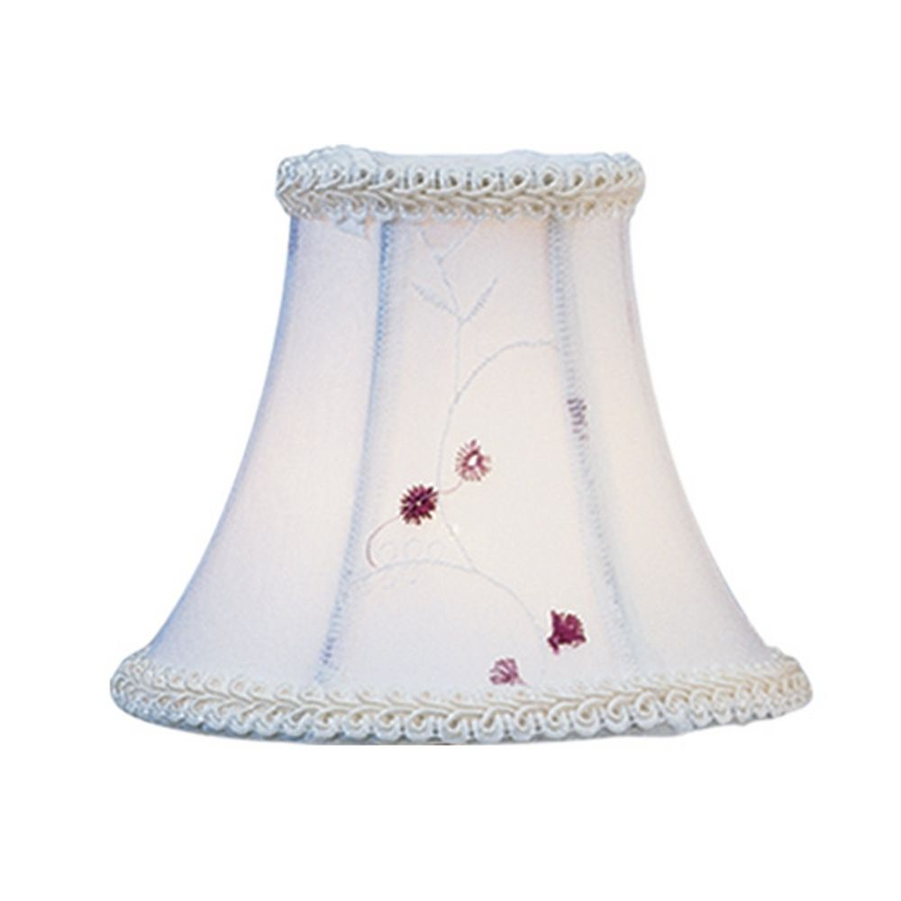Livex Lighting S221 White Embroidered Floral Bell Lamp Shade With