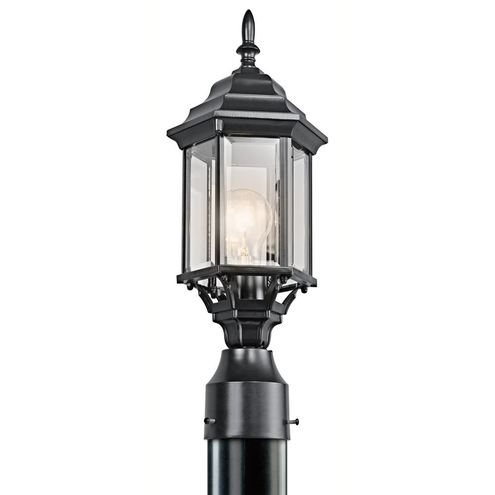 Kichler Post Light With Green Glass In Black Finish