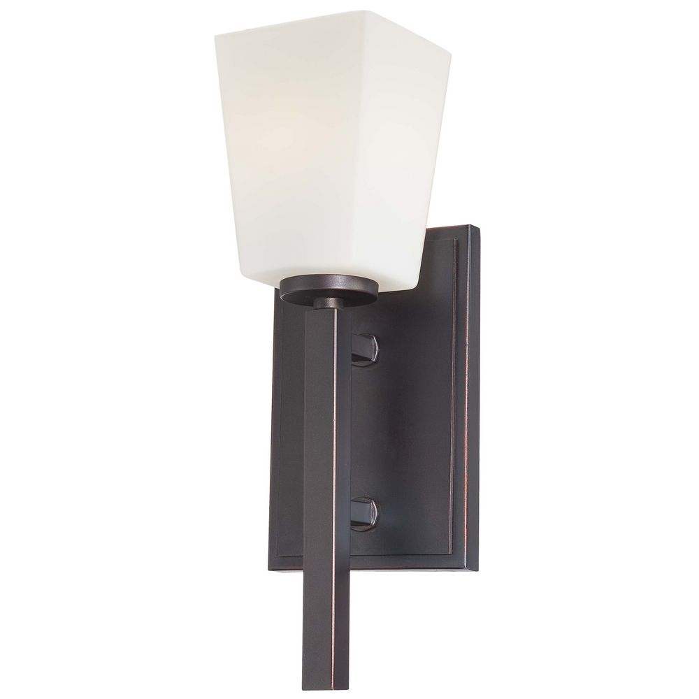 Wall Sconces Bronze Finish : Modern Sconce Wall Light with White Glass in Lathan Bronze Finish 6540-167 Destination Lighting