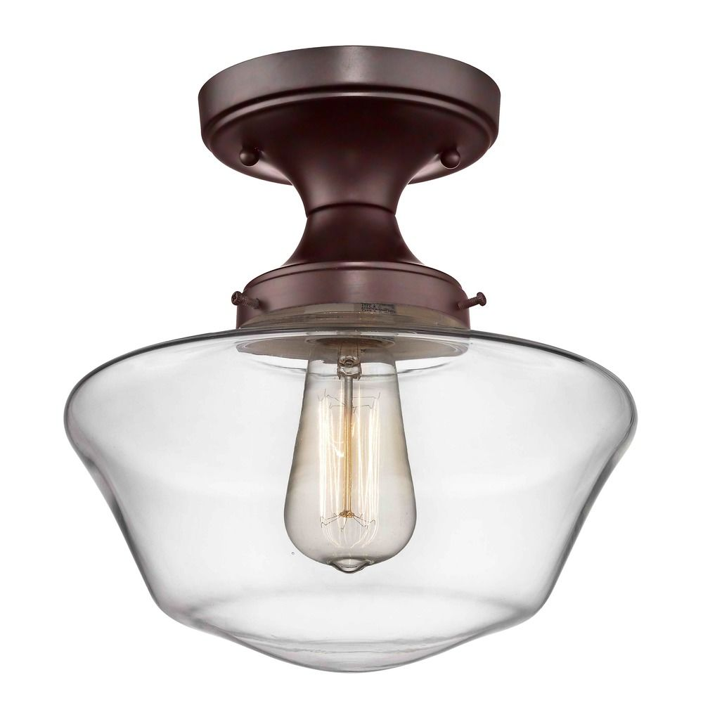 Clear Glass Schoolhouse Ceiling Light Bronze 10 Inch Alt2