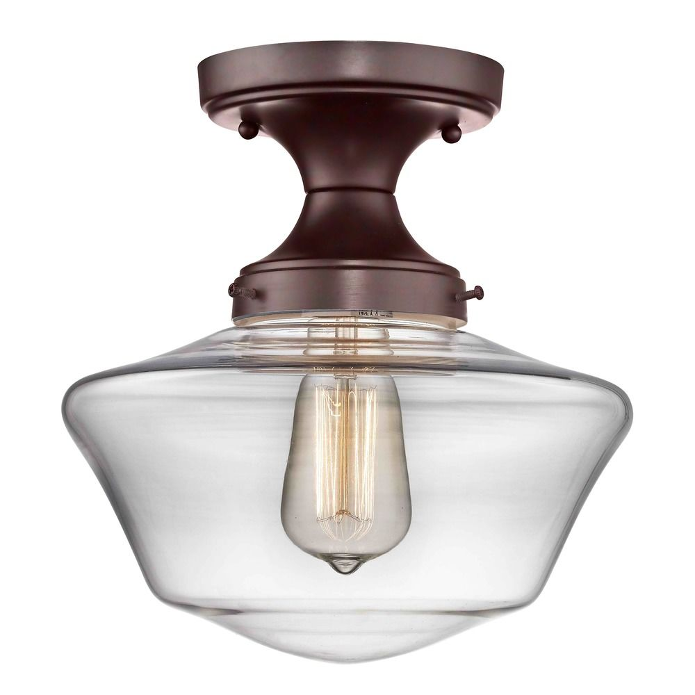Clear glass schoolhouse ceiling light bronze 10 inch fds 220 product image aloadofball