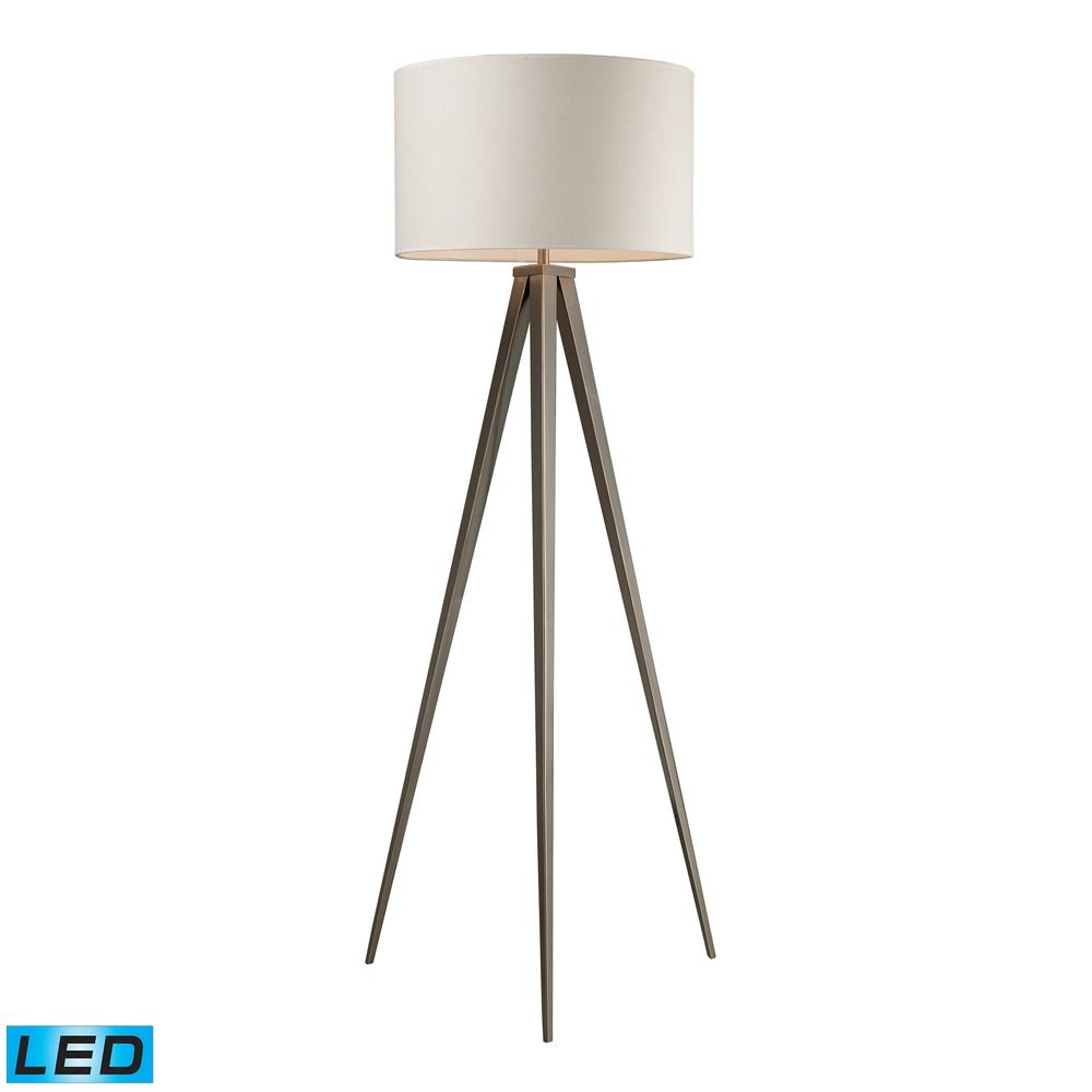lighting dimond lighting satin nickel led floor lamp with drum shade. Black Bedroom Furniture Sets. Home Design Ideas